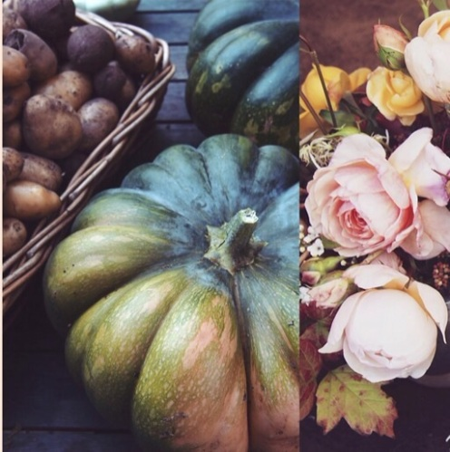 Seasonal flowers and produce